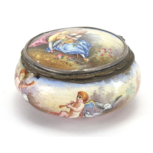 39 - Antique continental enamel box, hand painted with lovers and putti, 5.5cm in diameter...