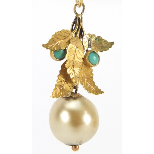 668 - Pair of 14ct gold pearl, turquoise and Mother of Pearl drop earrings, each stamped 585, housed in a ...