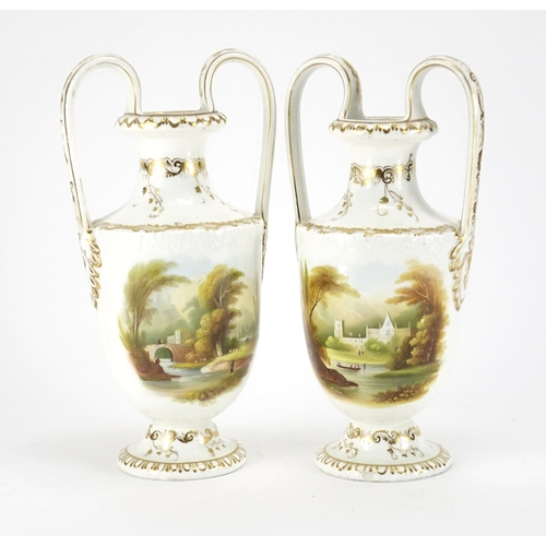 495 - Pair of Early 19th century porcelain vases with twin handles, each hand painted with pastoral scenes...