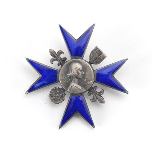 228 - World War I Nightingale School of nursing enamel badge, engraved Alice M Mate...