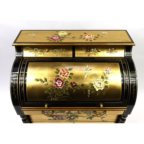 2007 - Black lacquer and gilt work cylinder bureau, decorated with birds amongst flowers, 107.5cm H x 84cm ...