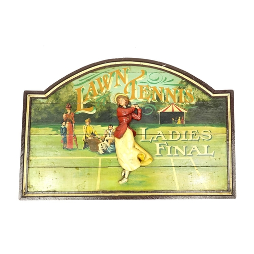 2016 - Hand carved and painted wooden Lawn Tennis Ladies Final panel, 92cm x 60cm...