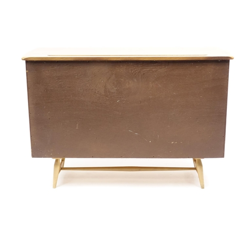 2006 - Ercol beech and light elm sideboard, model 467, 83cm H x 123cm W x 46cm D...