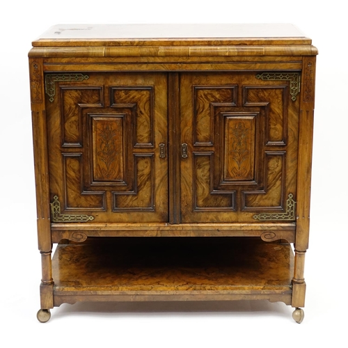 2028 - Burr Walnut side cabinet fitted with two doors and under tier, 98cm H x 90cm W x 42cm D...