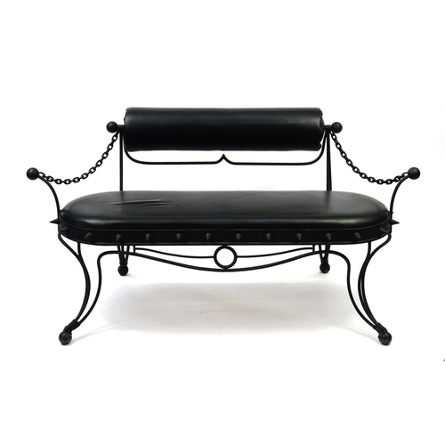 2052 - Gothic style cast iron and faux leather bench, 155cm wide...