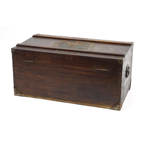 2010 - Military interest Royal West African Frontier Force trunk with carved crest, 40cm H x 84cm W x 46cm ...