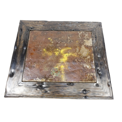 2030 - Indonesian driftwood low table with inset metal panel, 31cm H x 120cm W x 106cm D...