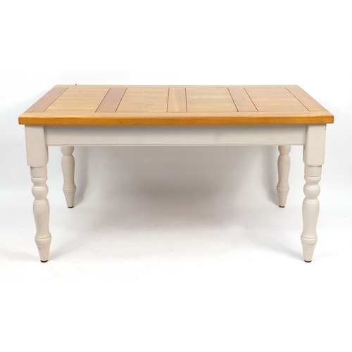 2031 - ** WITHDRAWN FROM SALE ** Modern light oak and white painted dining table, with six chairs including...