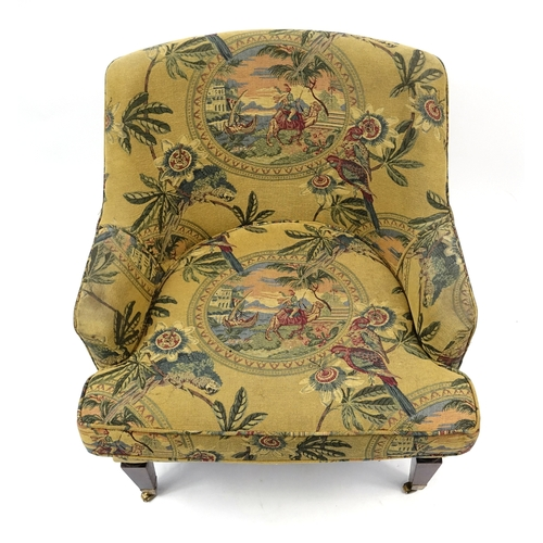 2033 - Mahogany framed tub chair, with parrots and figure on camel upholstery, 83cm high (OPTION)...