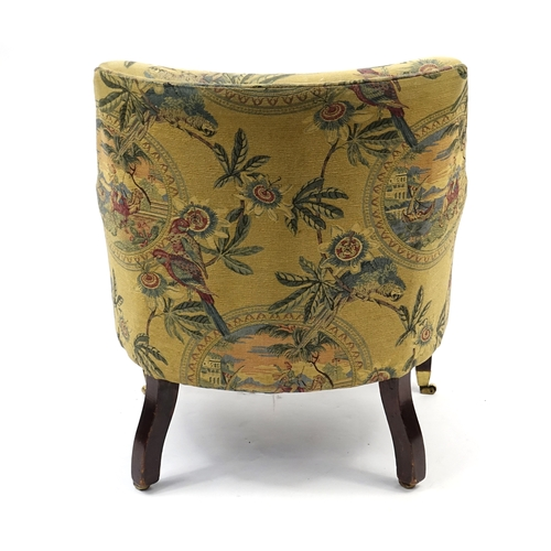 2034 - Mahogany framed tub chair, with parrots and figure on camel upholstery, 83cm high...