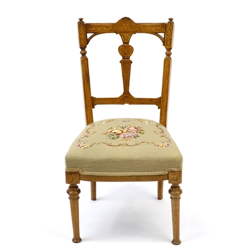 2054 - Inlaid walnut occasional chair with floral upholstered seat...
