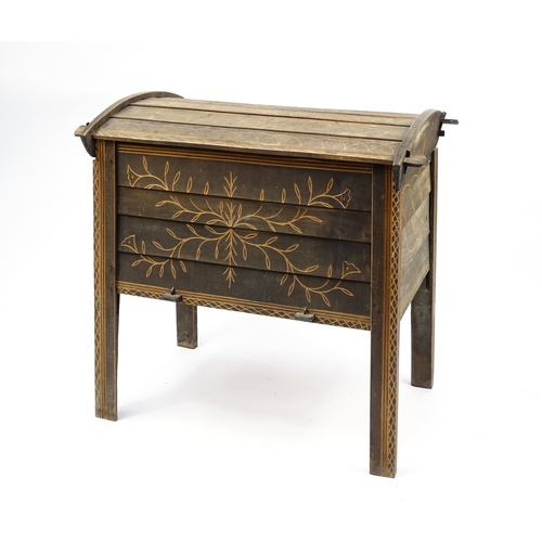 2015 - Italian stained wood bread bin, 90cm H x 88cm W x 58cm D...