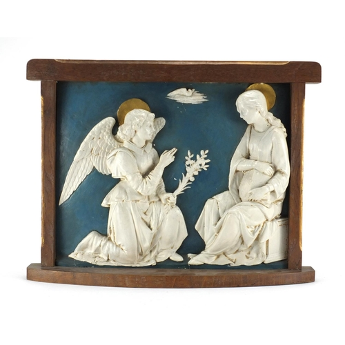 2057 - 19th century Hand painted plaster plaque - The Annunciation, housed in an oak frame, inscribed 2591 ...