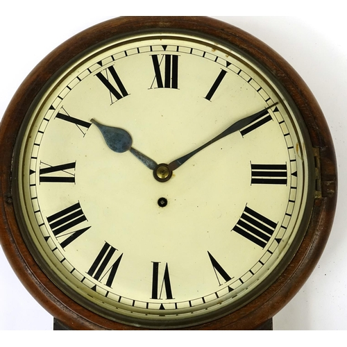 2023 - Victorian mahogany fusee drop dial wall clock, with Roman numerals , 47cm high...