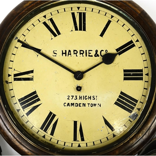 2032 - Victorian mahogany wall clock, the dial with Roman numerals, inscribed S Harrie & Co of Camden Town,...