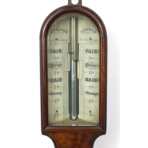 2043 - Georgian burr walnut stick barometer by Dollond of London with ivory dials, 95.5cm high...
