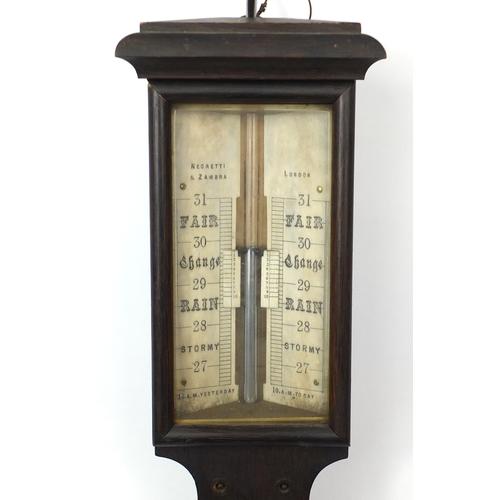 2060 - Georgian oak stick barometer by Negretti & Zambra of London with ivory dials, 97cm high...