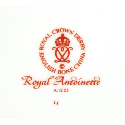 2041 - Royal Crown Derby Royal Antoinette six place tea service, the teapot 18cm high...