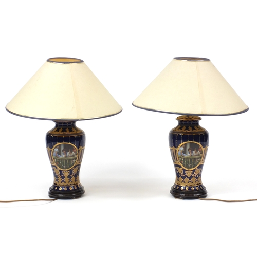 2012 - Pair of Italian porcelain table lamps with shades, hand gilded and transfer printed with females on ...