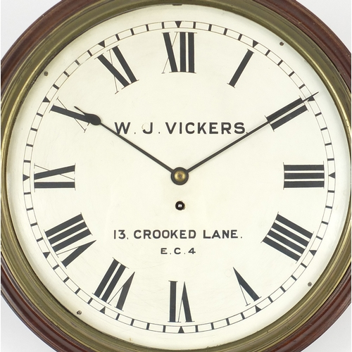 2014 - Victorian mahogany fusee wall clock, the dial with Roman numerals, inscribed W J Vickers of 13 Crook...