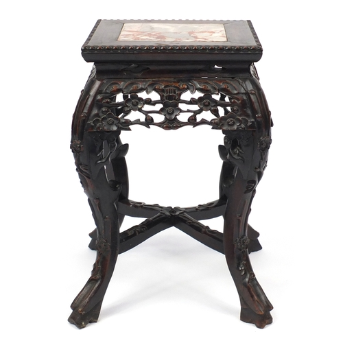 2027 - Chinese rosewood plant stand with inset marble top, carved with flowers, 47cm H x 28cm W x 28cm...