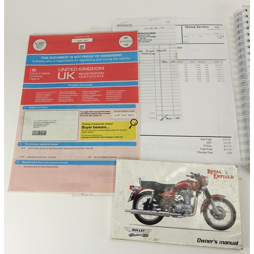 2003 - 2010 Royal Enfield Bullet Electra CL EFI 500cc motorbike with side car, 9263 recorded miles, registe...