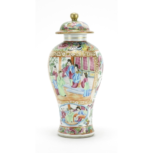 2039 - Chinese porcelain Canton baluster vase and cover, hand painted in the famille rose palette with figu...