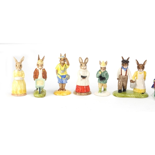 2040 - Thirteen Royal Doulton Bunnykins figures, three with boxes including Birthday Girl DB290 and Jack an...