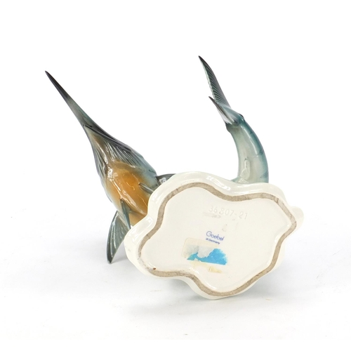 2048 - Goebel hand painted marlin fish, 21cm high...