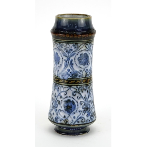 2042 - Royal Doulton stoneware vase by Mark V Marshall, hand painted with flowers and foliage, impressed ma...