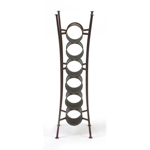 2023 - Industrial design copper and wrought iron six bottle wine rack, 80cm high...