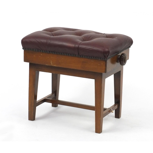 20 - Victorian mahogany adjustable piano stool with leather seat, 47cm H x 52cm W x 38cm D...