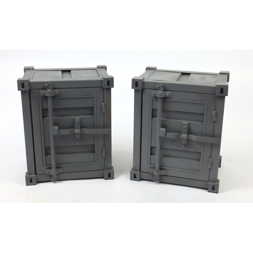 2004 - Pair of metal industrial design bedside chests, 56cm H x 46cm W x 35.5cm D...