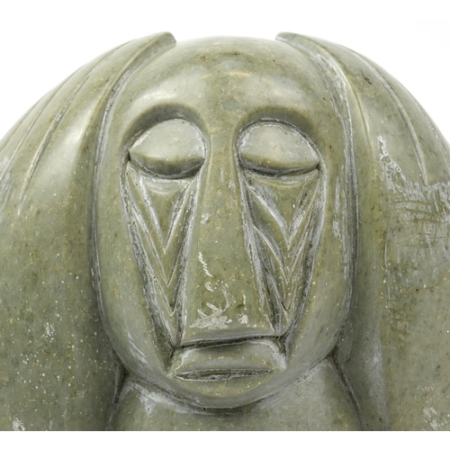 2021 - Modernist stone carving of a figure holding his hands on his head, 47cm high...