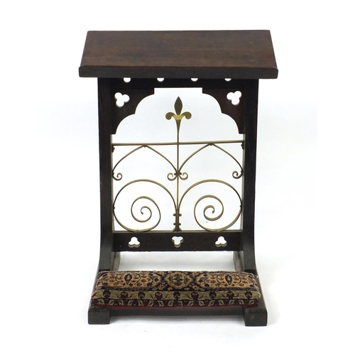 2018 - Gothic style oak and brass mounted prie-dieu, 92cm high...