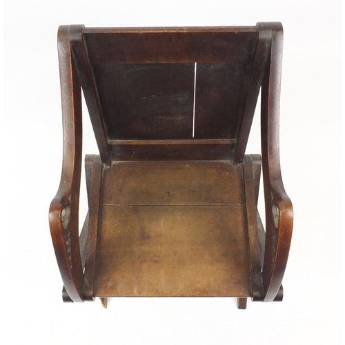 2016 - 19th century Gothic style carved oak Glastonbury chair, 92cm high...