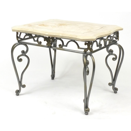 19 - Modern wrought iron occasional table with shaped marble top, 55cm H x 71cm W x 62cm D...