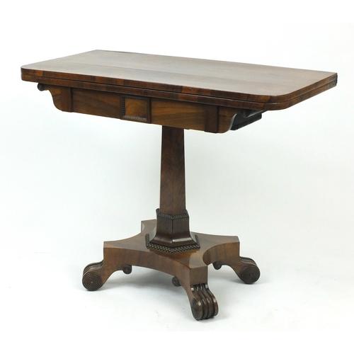 2006 - Georgian rosewood folding card table, 73cm H x 92cm W x 45cm D (folded)...