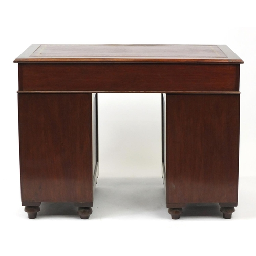 2001 - Late 19th century mahogany campaign style twin pedestal desk, with tooled red leather insert, 76cm H...