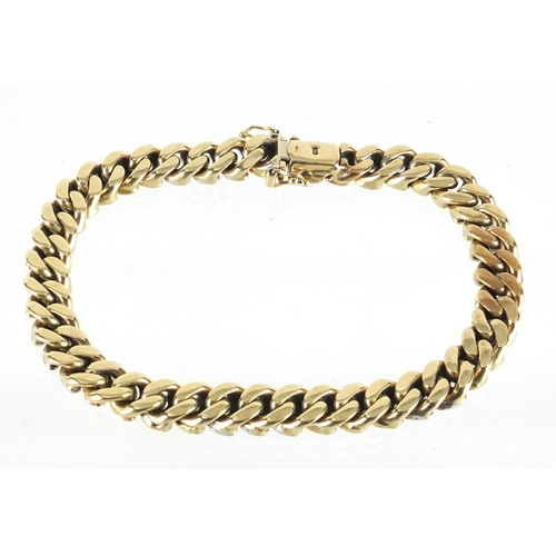 2365 - Gold coloured metal bracelet with 9ct gold clasp, 22cm in length, approximate weight 51.8g...