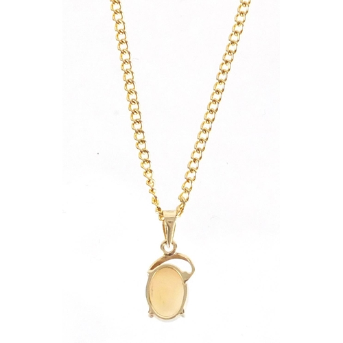 2347 - 14ct gold opal pendant on a gold coloured metal necklace, housed in an opal Field Gems Australia box...