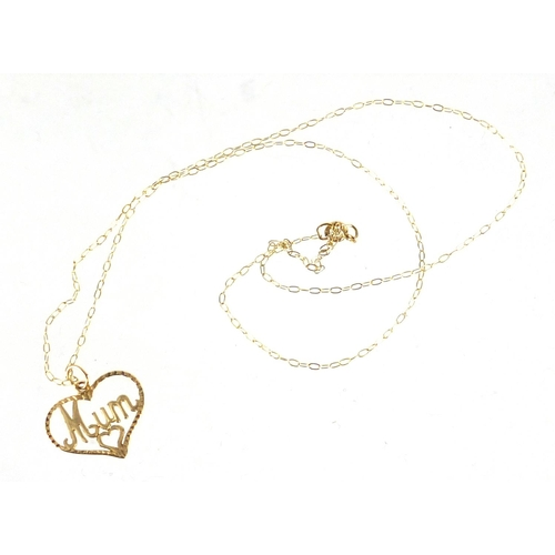 2337 - 9ct gold Mum love heart pendant on 9ct gold necklace, approximate weight 0.7g...