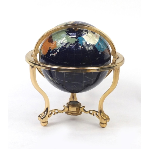 2022 - Gilt metal and specimen table globe, with compass under tier, 48cm high...