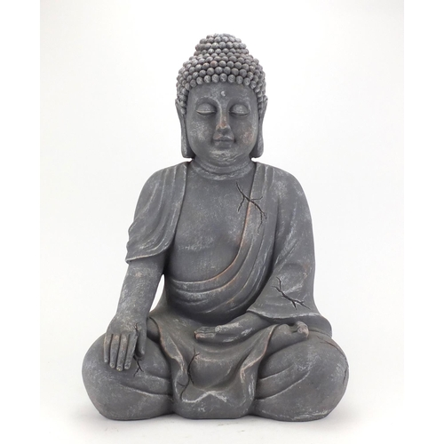 2019 - Large stone effect figure of seated Buddha, 54cm high...