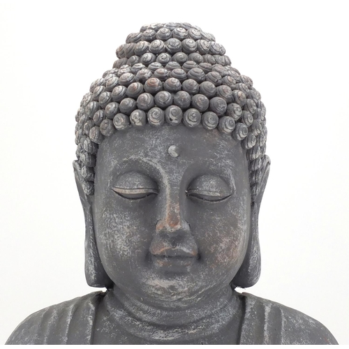 2019 - Large stone effect figure of seated Buddha, 54cm high...