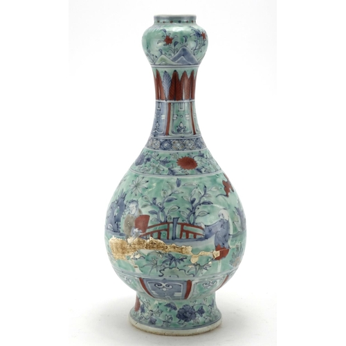 2032 - Chinese porcelain vase, hand painted with figures in a landscape, character marks to the base, 40.5c...