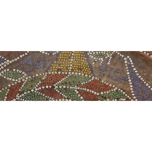 2020 - Two African beadwork four stools, the larger decorated with birds, flowers and geometric motifs, the...