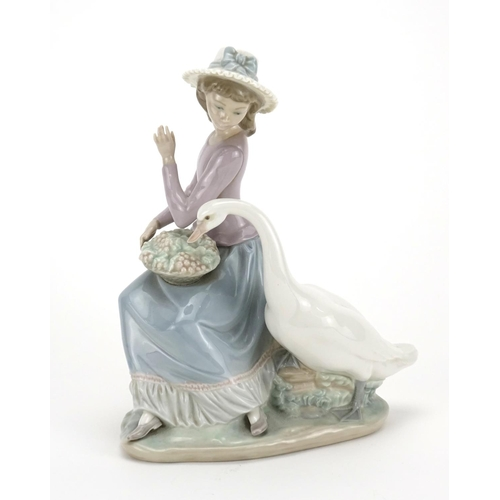 2044 - Lladro figurine of a girl and swan, 25cm high...