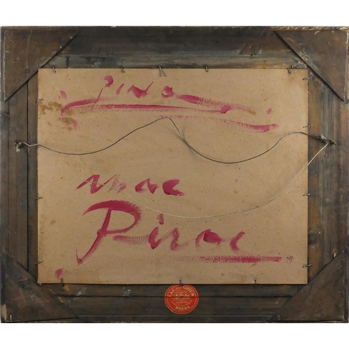 2027 - Female flower seller, Italian school oil on board, bearing a signature Pino and inscriptions verso, ...