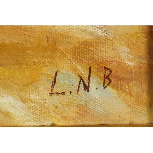 2028 - Native American's, American school oil on board, bearing an inscription Lavrna Nelson Black verso, m...
